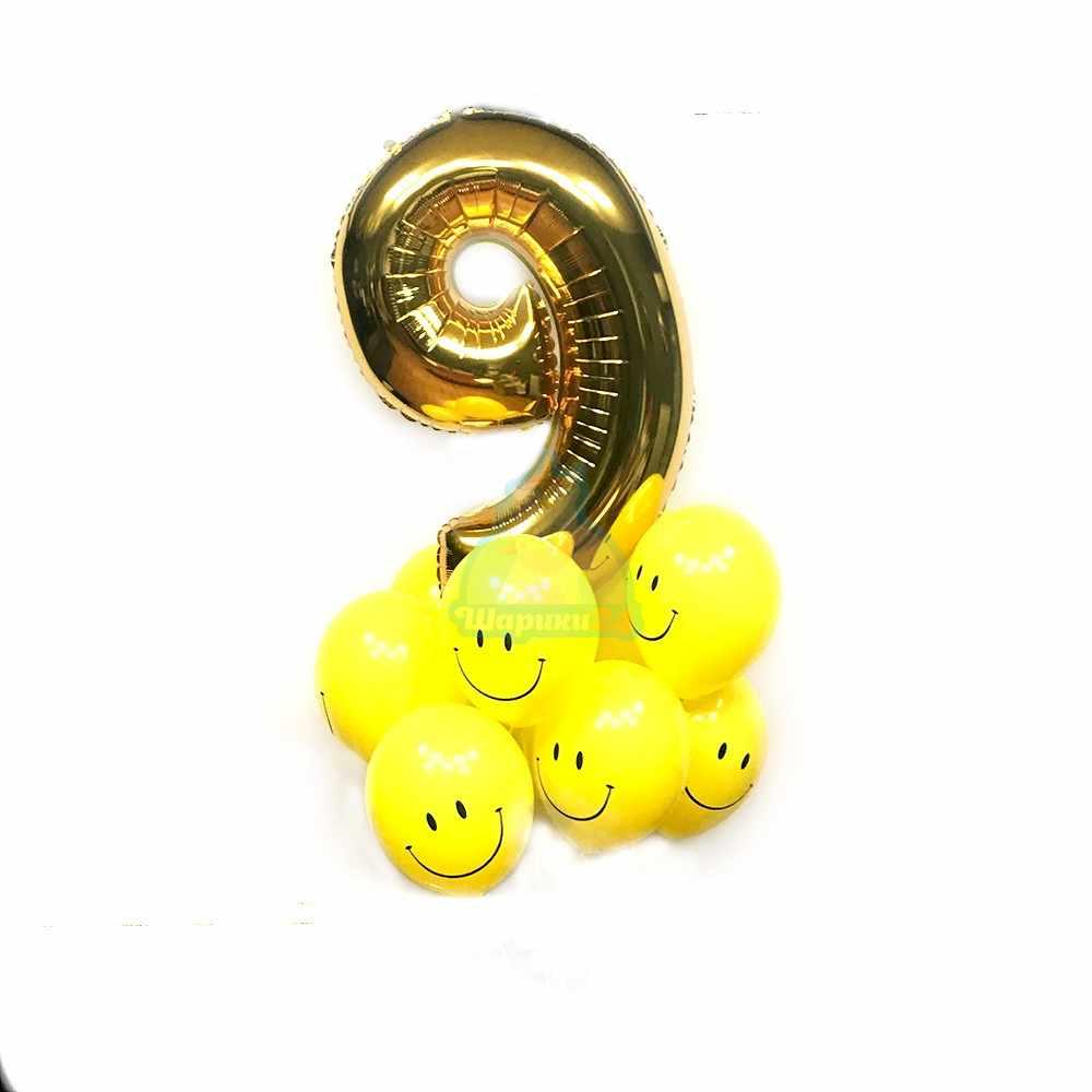 Композиция из шаров с цифрой и смайлами