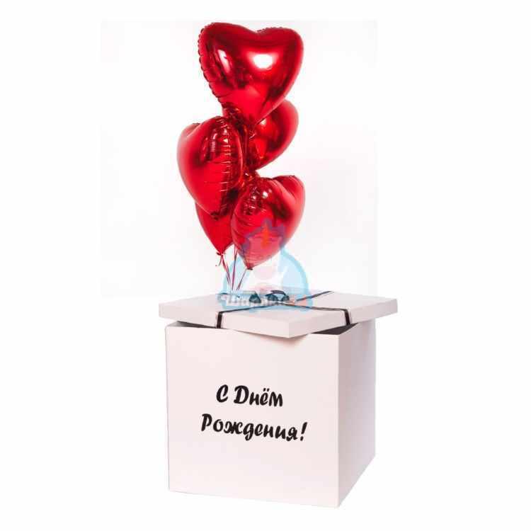 Красные фольгированные сердца в коробке