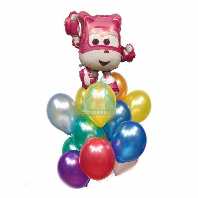 Композиция из разноцветных шаров Супер Крылья Дизи