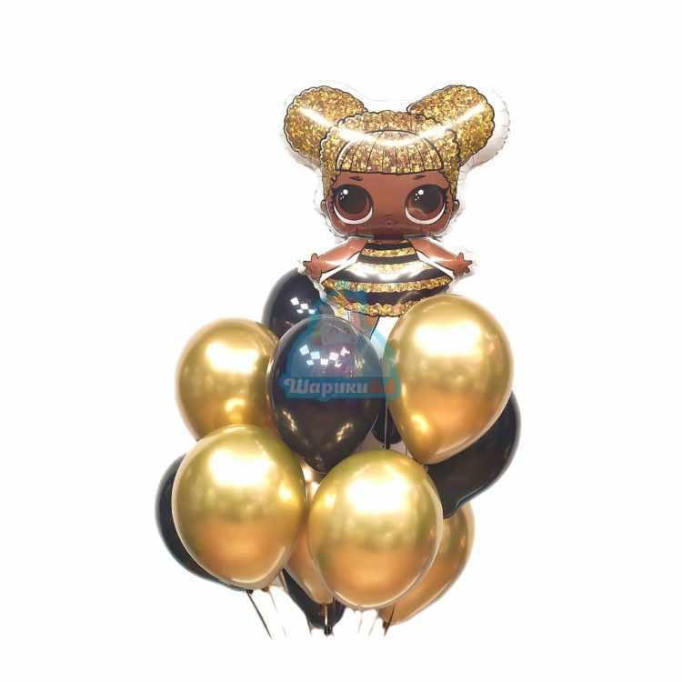 Композиция из черных и золотых хромированных шариков с LOL