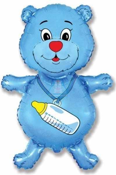 Фольгированная фигура мишка голубой