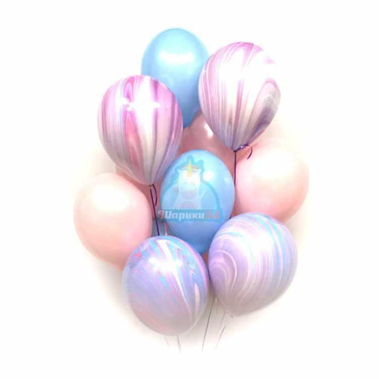 Облако розовых и голубых шаров с сиреневыми агатами - 27 шт