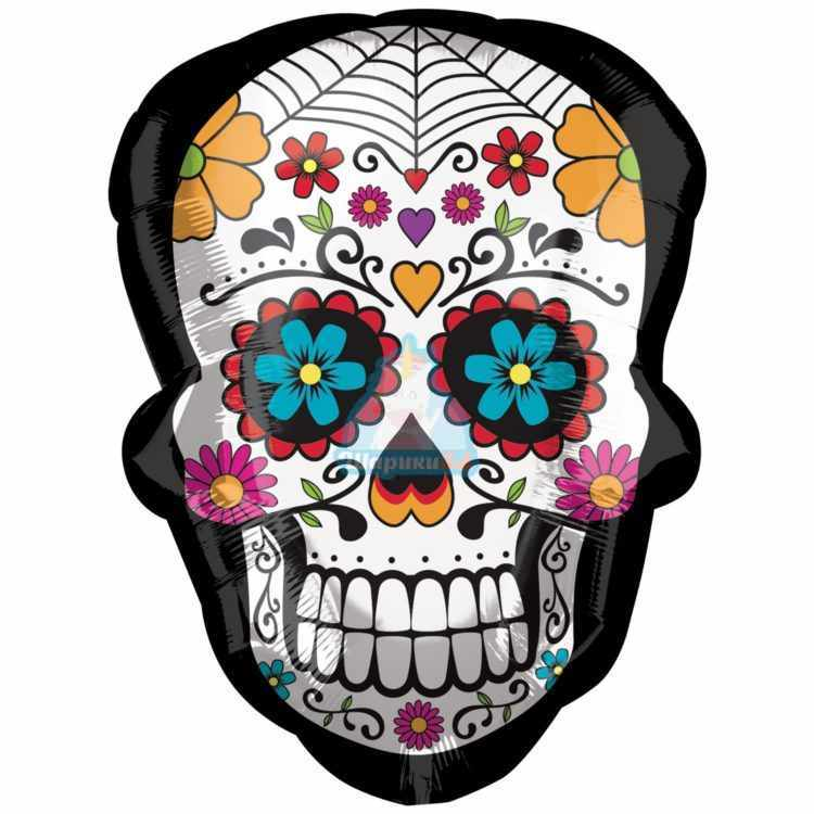 Фольгированный шар голова скелета цветная