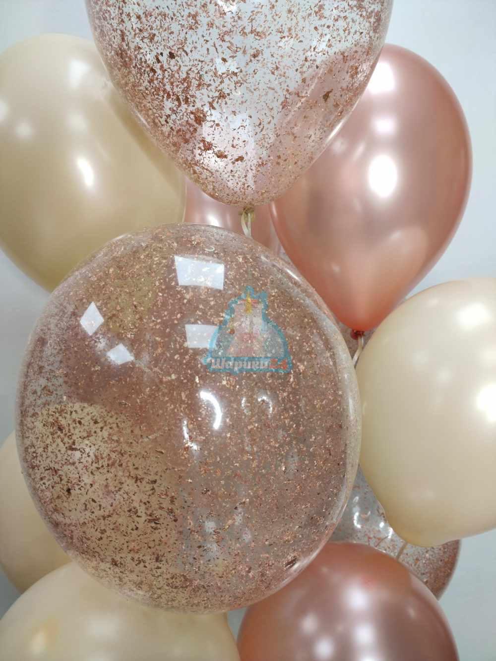 Букет на День рождения с цифрой розовое золото