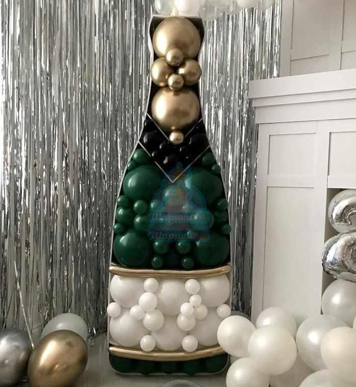 Фигура бутылка шампанского в стиле аэромозаика