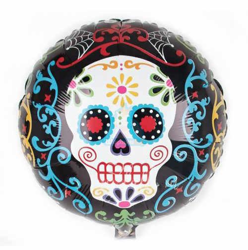Фольгированный шар Happy Halloween с разноцветным черепом