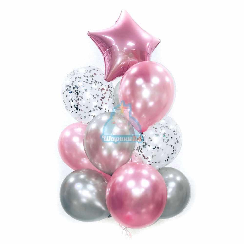 Композиция из розовых и серебряных шаров на новый год
