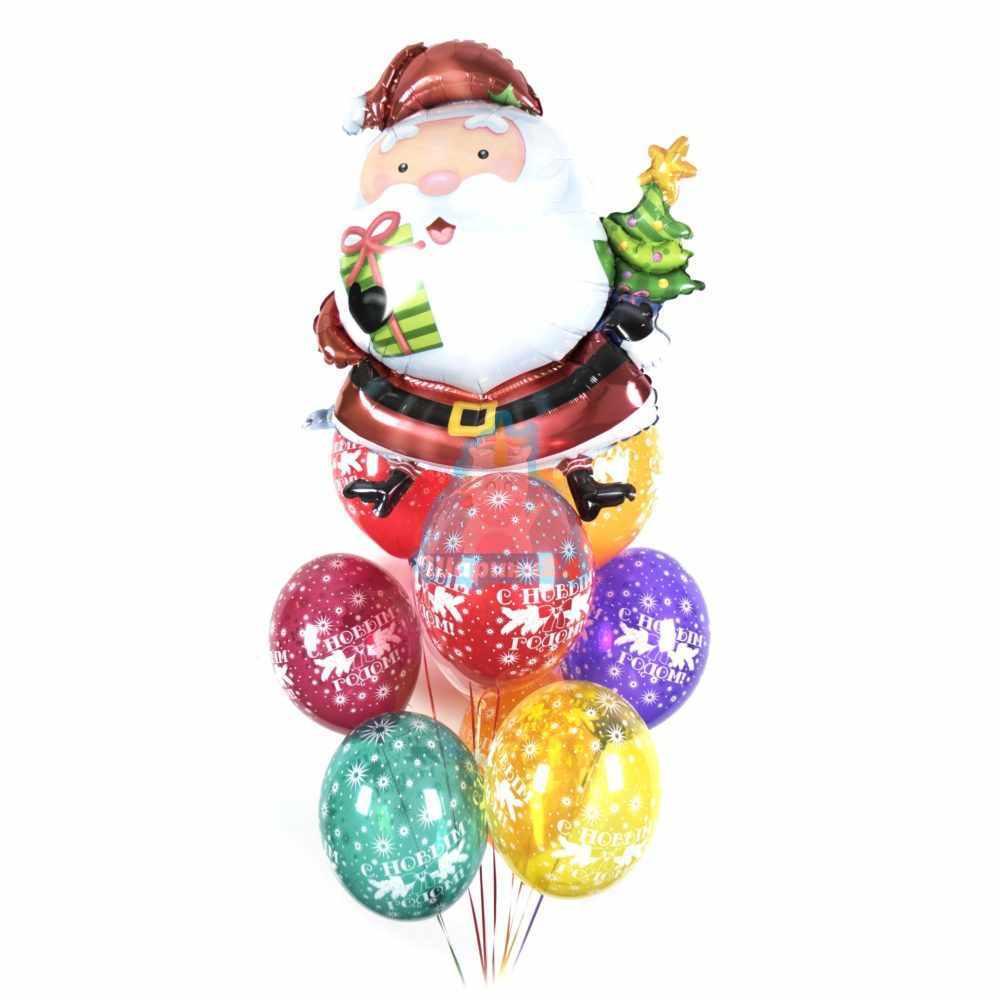 Композиция из разноцветных шаров с сантой на новый год