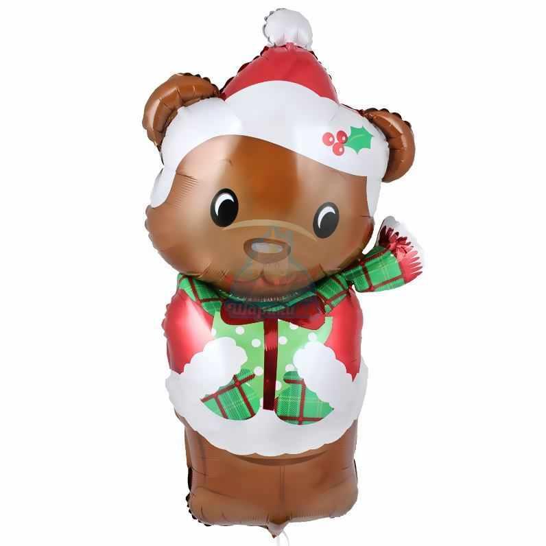Фольгированная фигура мишка новогодний