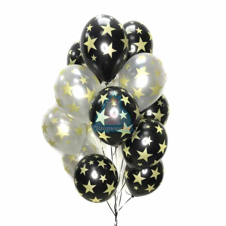 Облако серебряных шариков с золотыми звездами