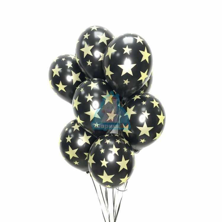 Облако черных шариков с золотыми звездами