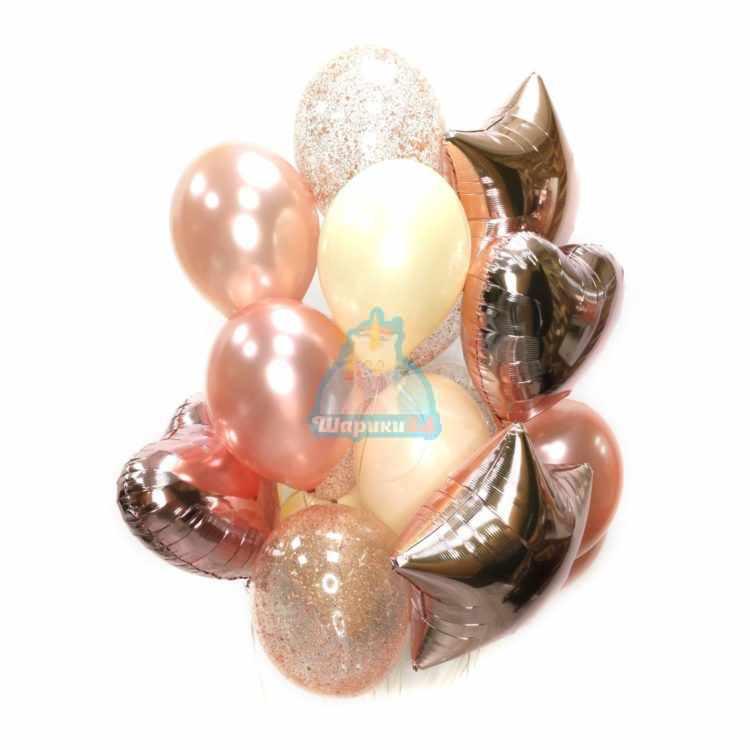 Композиция из воздушных шаров розовое золото со звездами и сердцами
