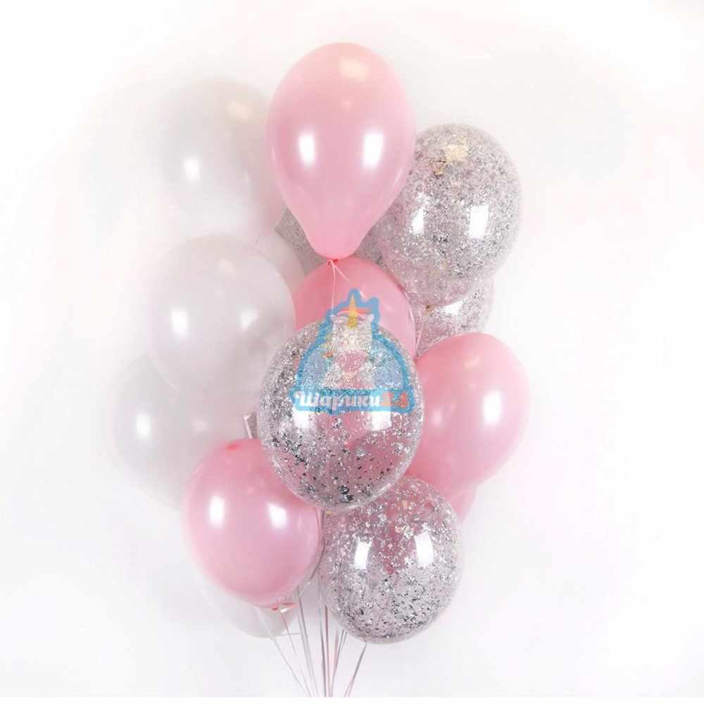 Облако бело-розовых и прозрачных шаров с серебряными блёстками на 8 марта