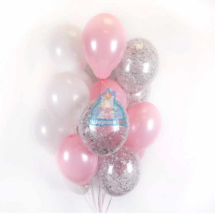 Шары с гелием бело-розовые и прозрачные с серебряными блёстками