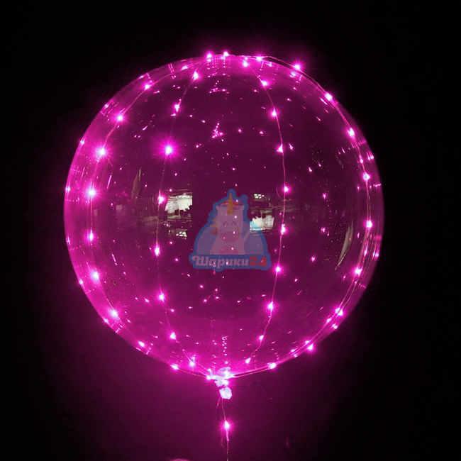 Светящийся кристальный шар Bubbles с розовой светодиодной лентой на 8 марта