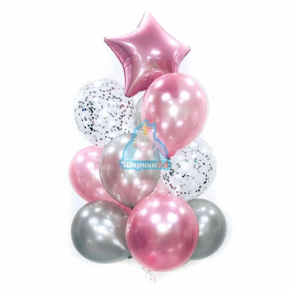 Композиция из розовых и серебряных шаров на 8 марта