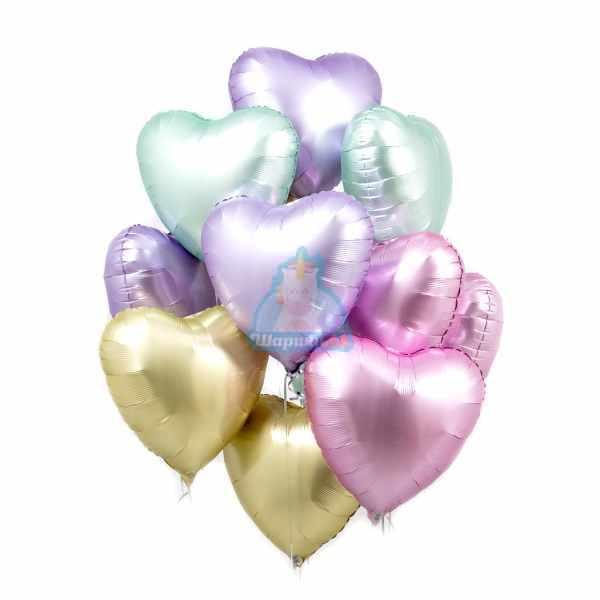 Шары с гелием разноцветные сердца