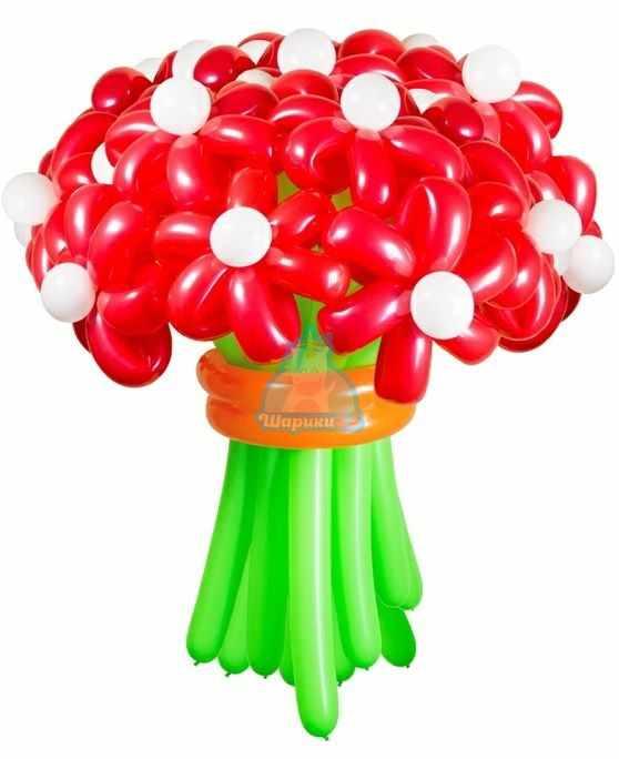 Букет цветов из шаров Ромашки красные
