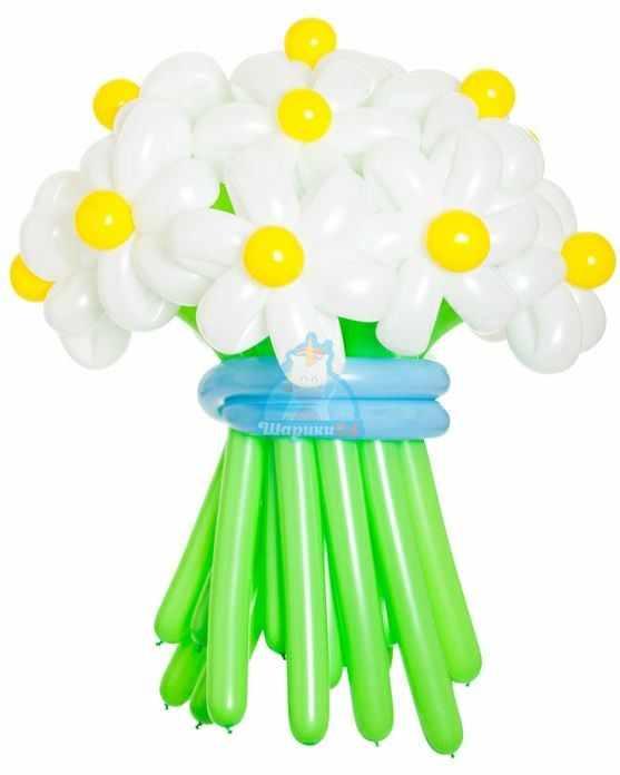 Букет цветов из шаров Ромашки белые