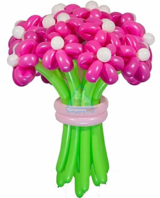 Букет цветов из шаров Ромашки фуксия