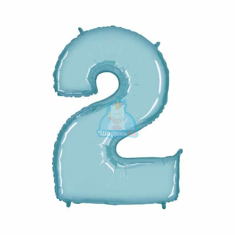 Шар цифра 2 голубая
