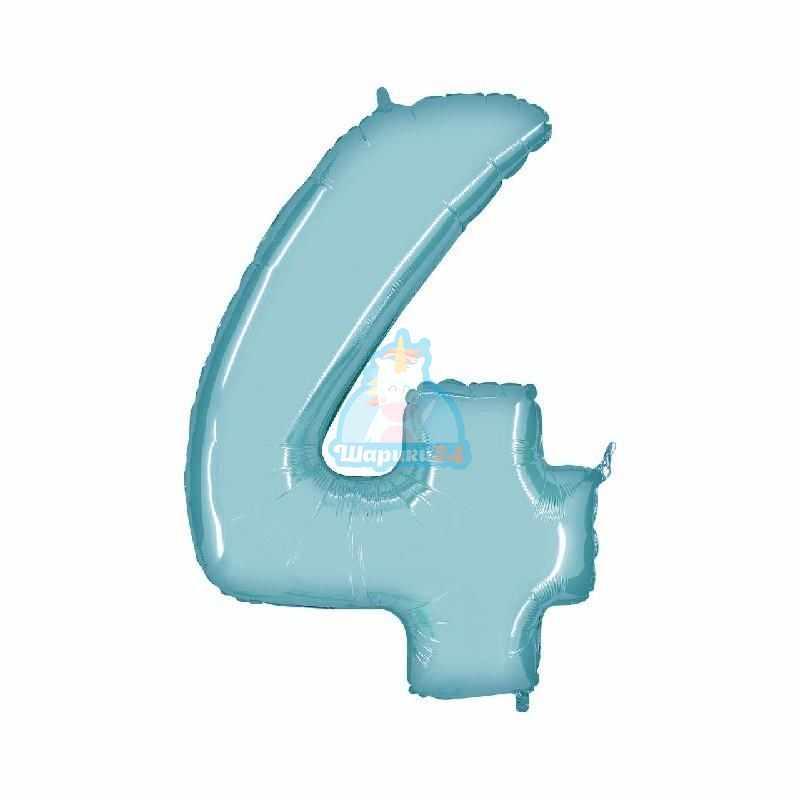 Фольгированная цифра 4 голубая