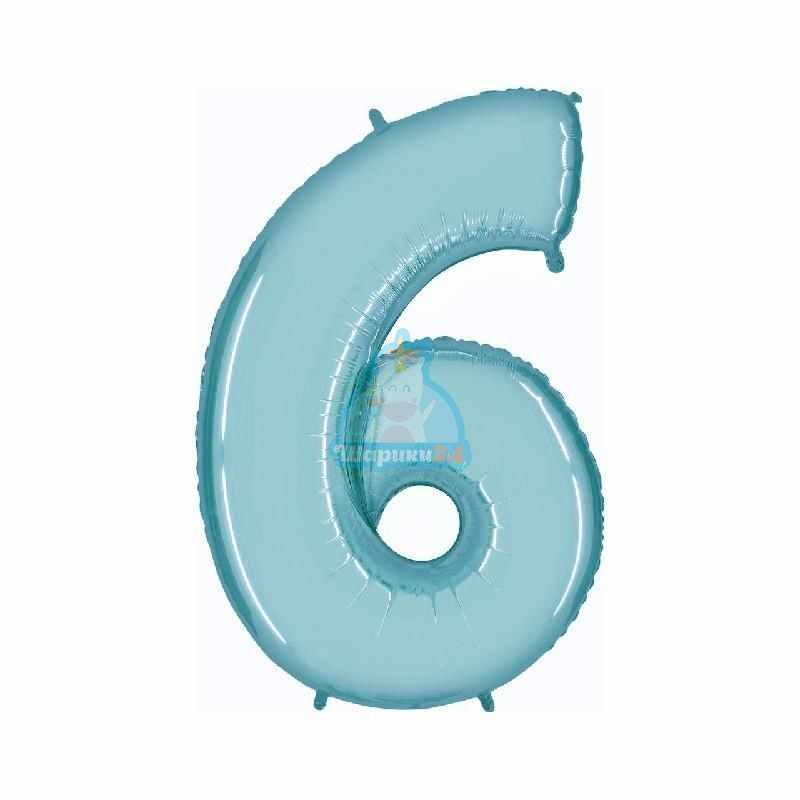 Фольгированная цифра 6 голубая