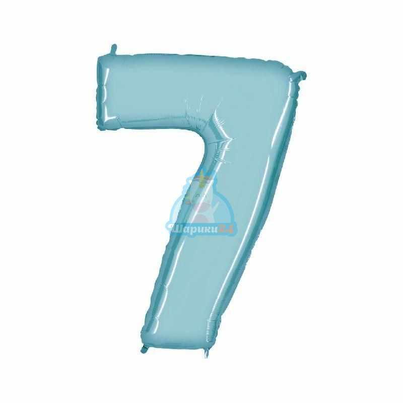 Фольгированная цифра 7 голубая