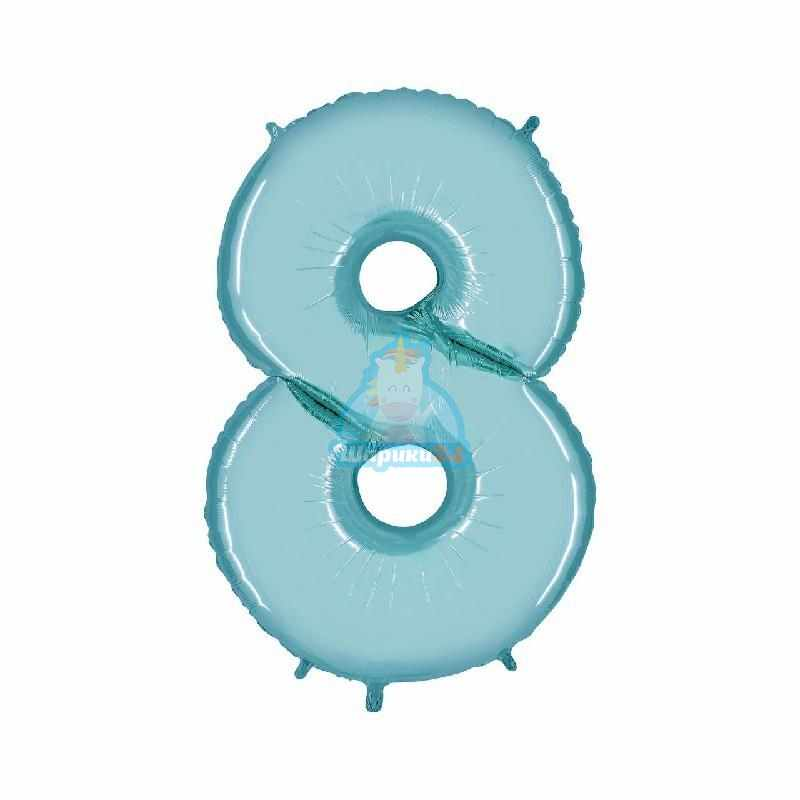 Шар цифра 8 голубая