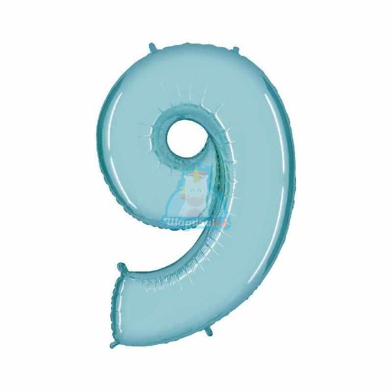 Фольгированная цифра 9 голубая
