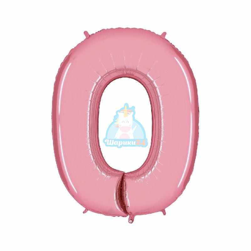 Шар цифра 0 розовая