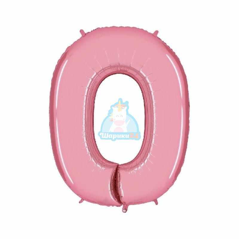 Фольгированная цифра 0 розовая