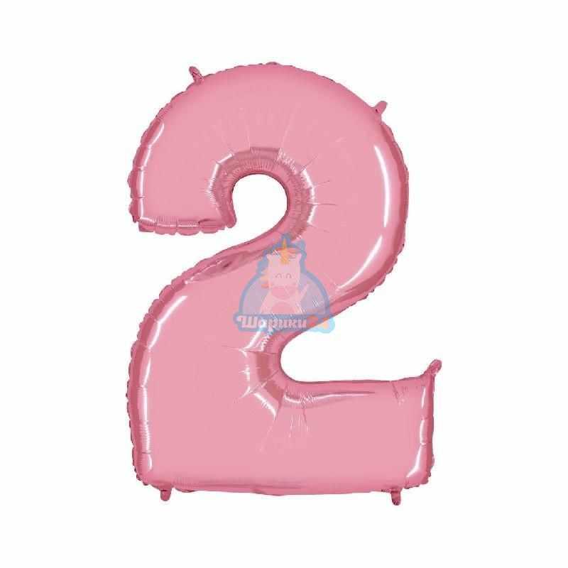 Шар цифра 2 розовая