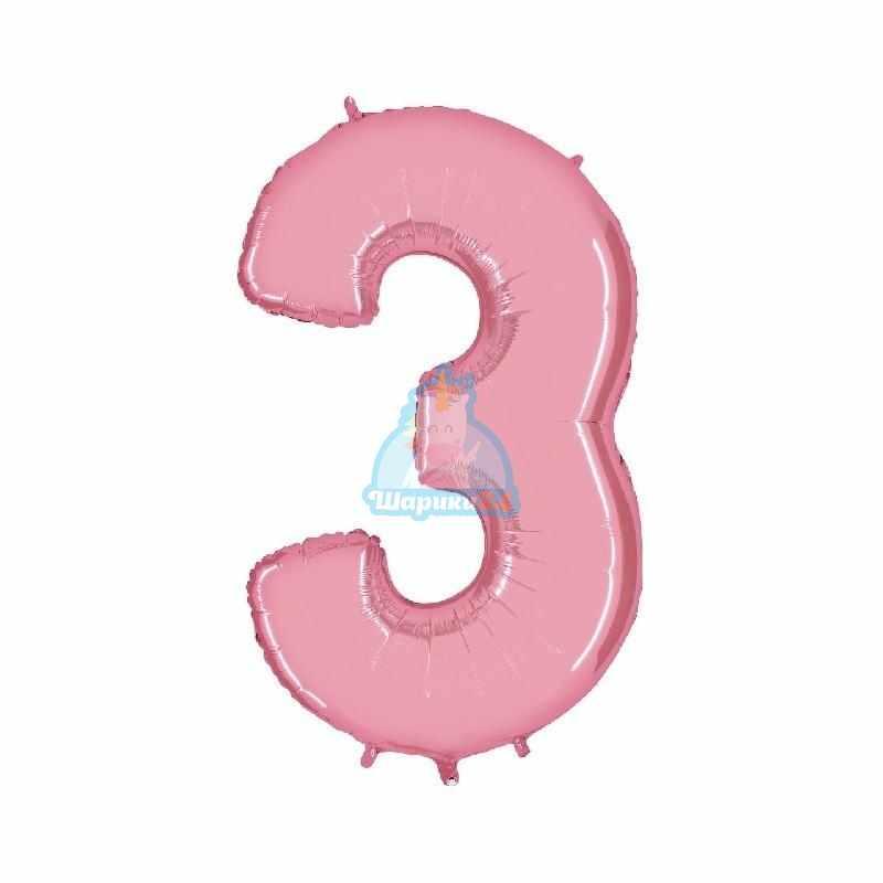 Фольгированная цифра 3 розовая