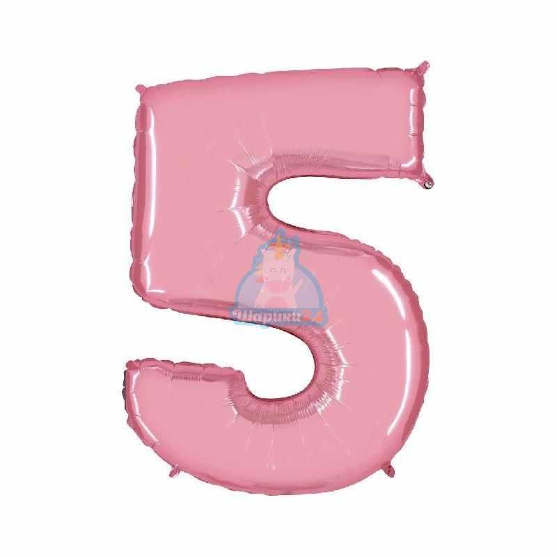 Фольгированная цифра 5 розовая
