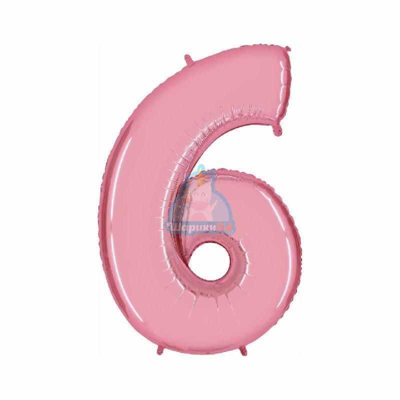 Фольгированная цифра 6 розовая