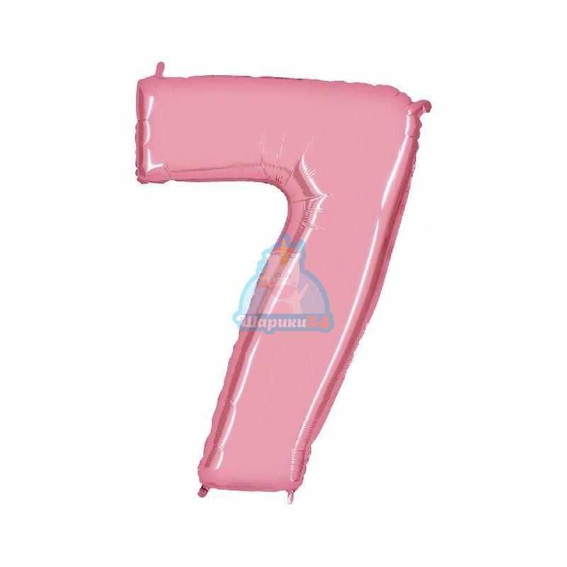 Фольгированная цифра 7 розовая