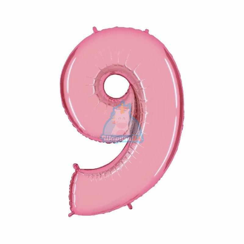 Фольгированная цифра 9 розовая