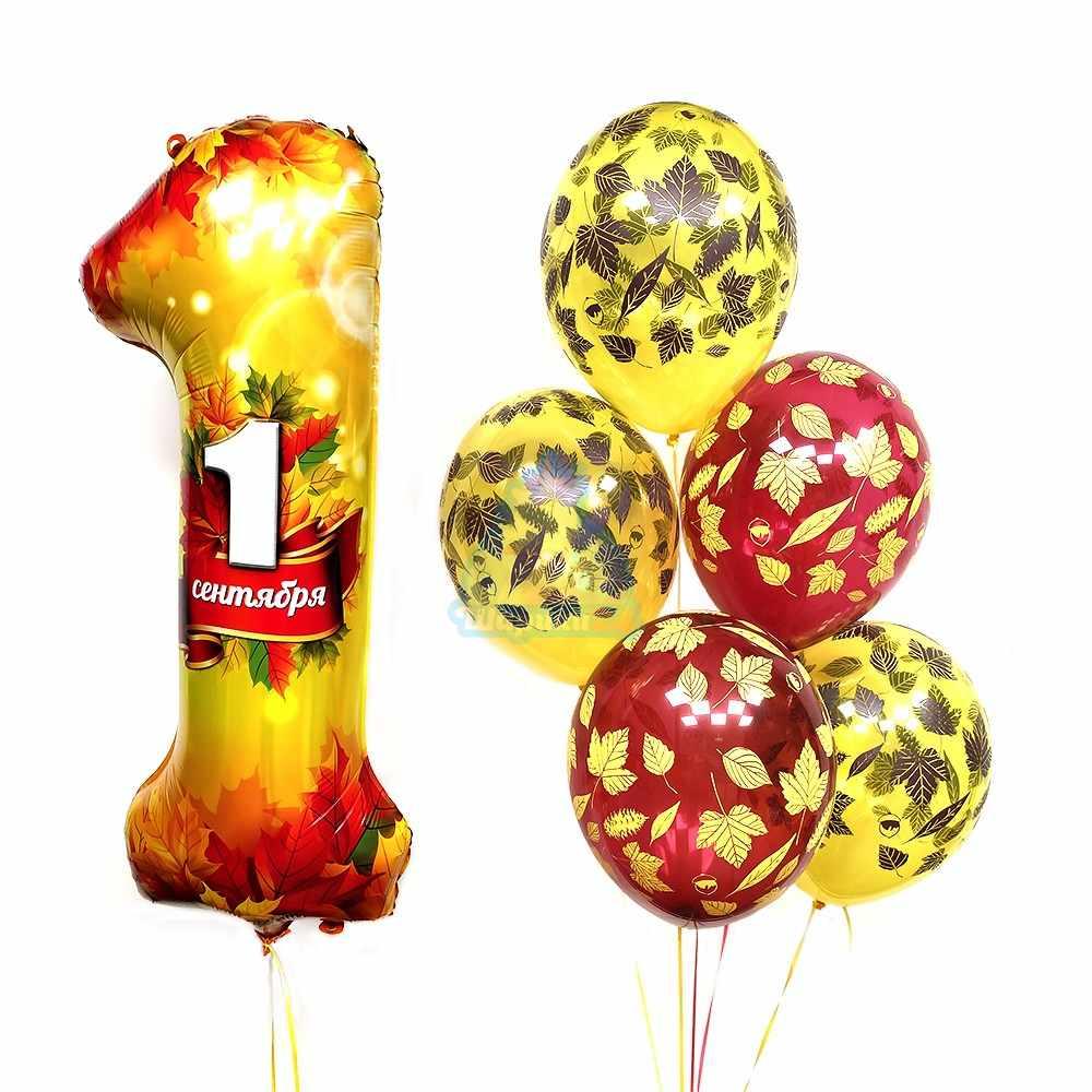 Композиция из желтых и красных шариков на 1 сентября с цифрой