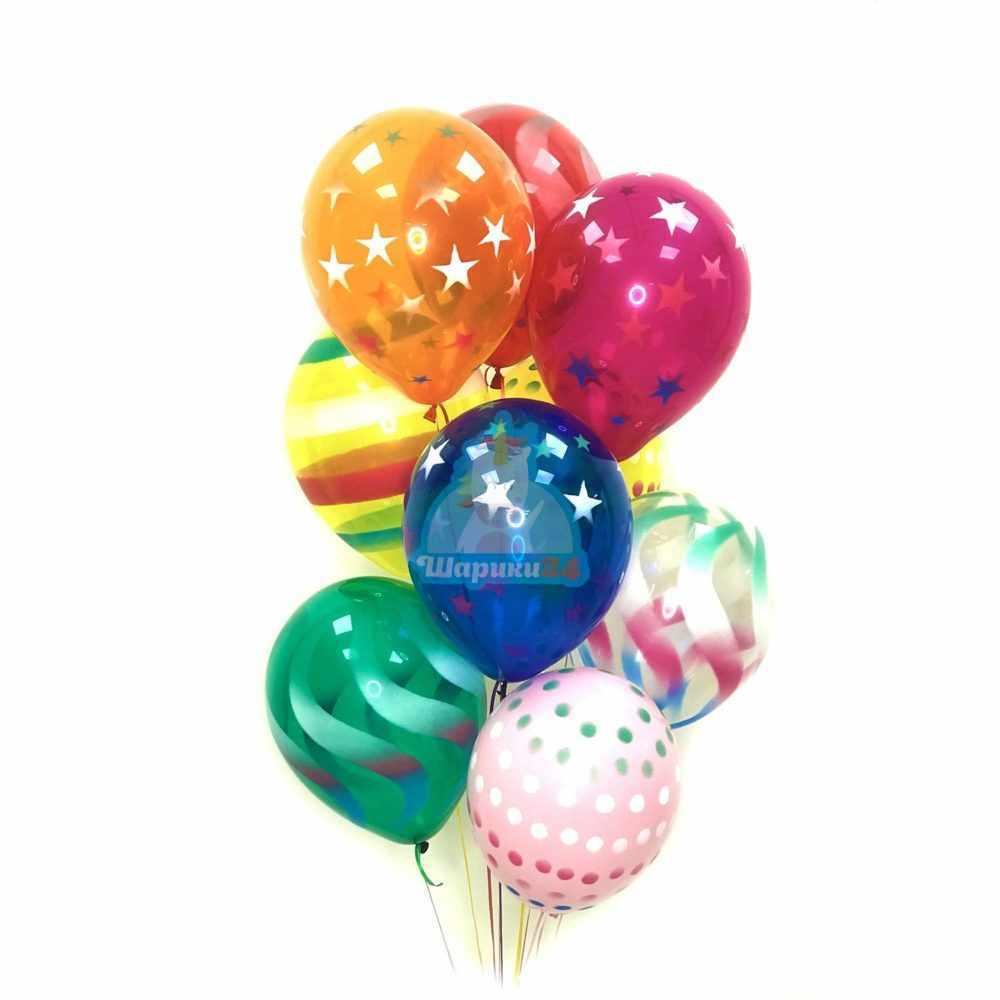 Воздушные разноцветные шарики серпантин