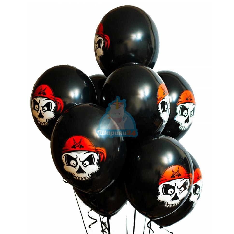 Гелиевые шары черные с черепами