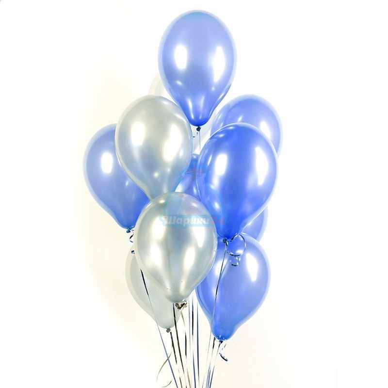Гелиевые шары синие и серебряные металлик