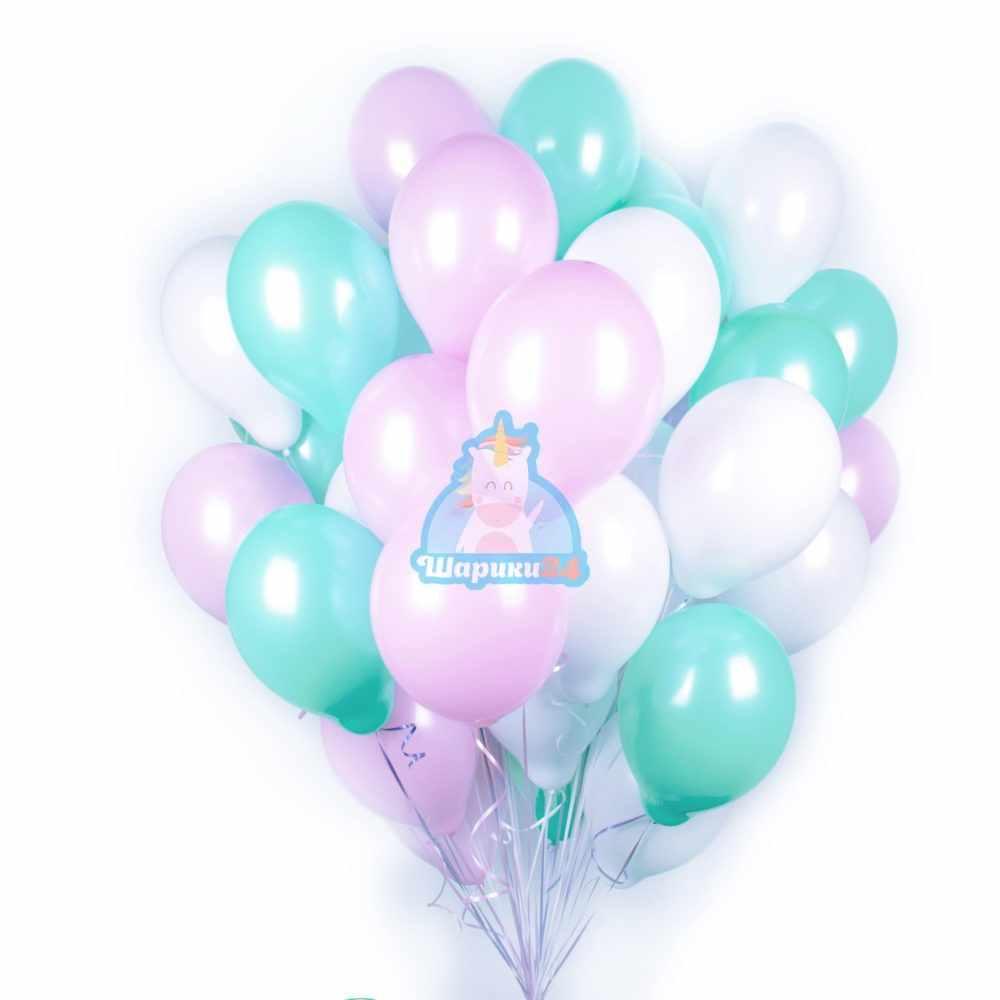 Гелиевые шары белые, розовые и мятные