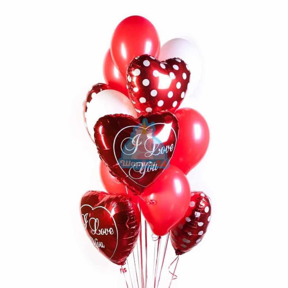 Композиция из гелиевых шаров I Love you на 8 марта