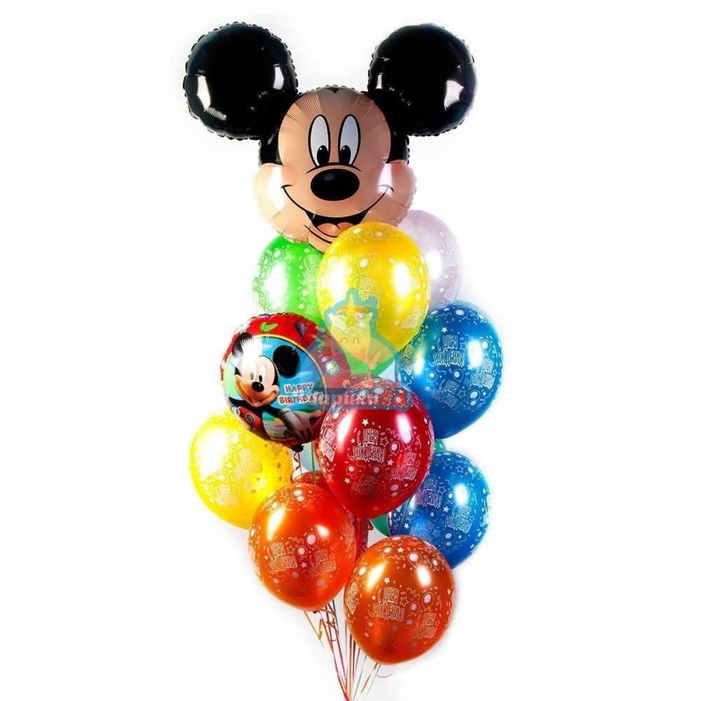 Композиция из воздушных шаров С Днем Рождения с Микки Маусом