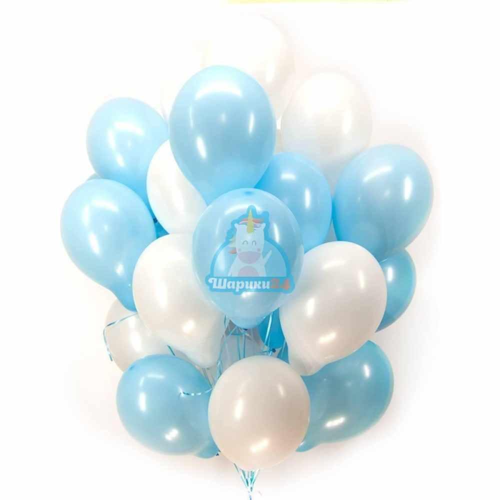 Воздушные шарики бело-голубые