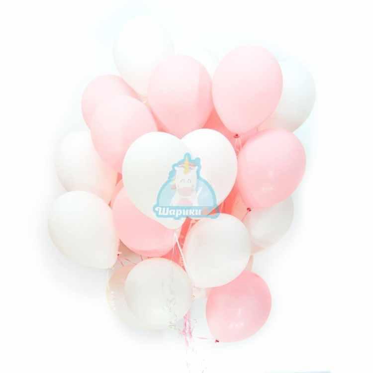Бело-розовые шарики на день влюбленных