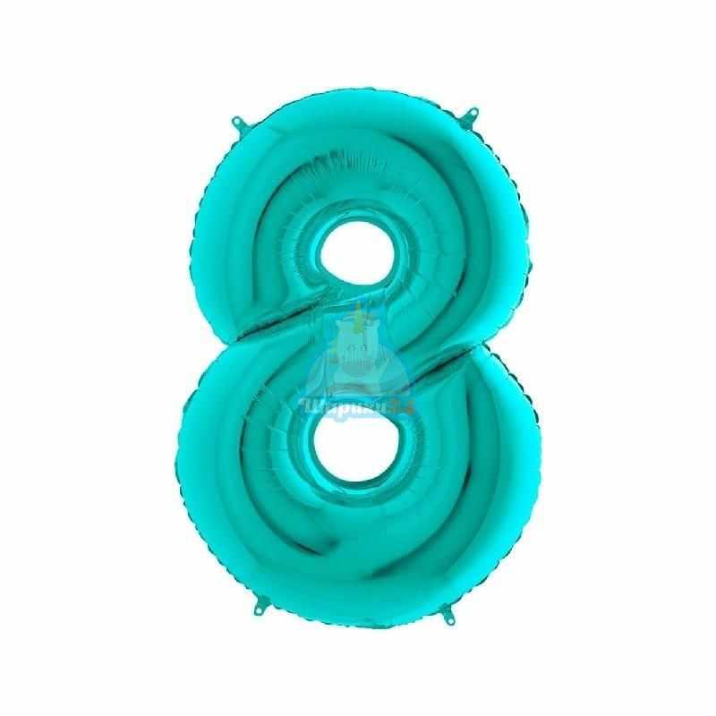 Фольгированная цифра 8 мятная