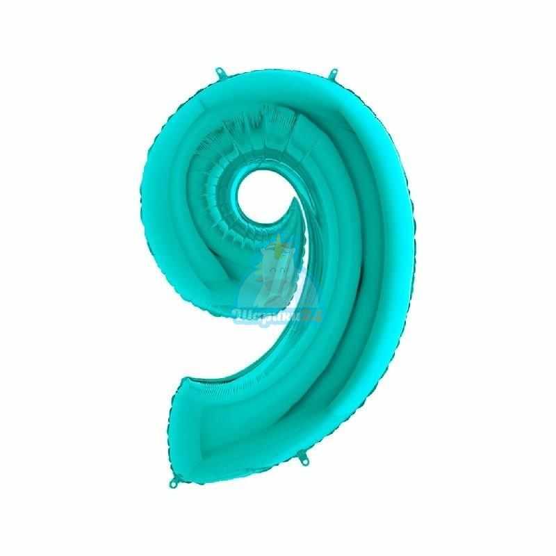 Фольгированная цифра 9 мятная