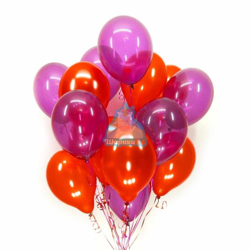 Гелиевые шары красные металлик и фуксия кристалл